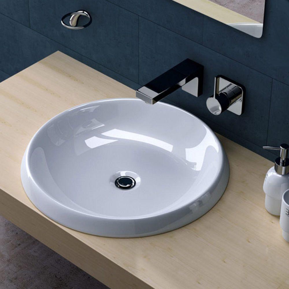 einbauwaschbecken lavabo keramik rund 51 cm. Black Bedroom Furniture Sets. Home Design Ideas