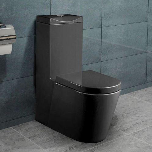Hervorragend Stand-WC Toilette mit integriertem Spülkasten schwarz mit Deckel Nano FY39