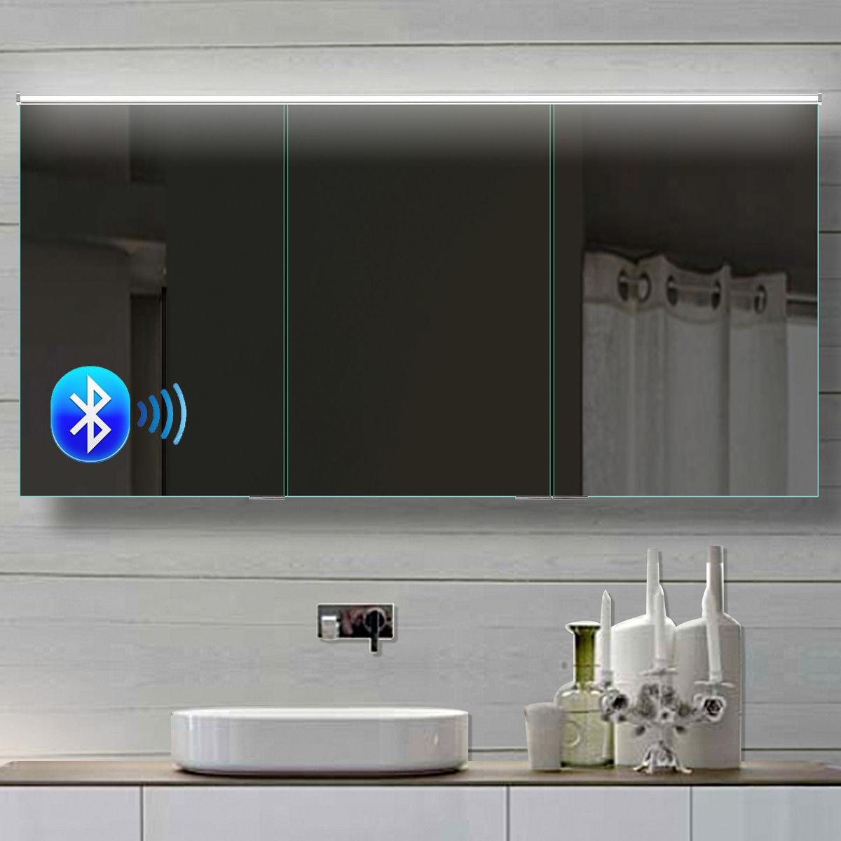 LED Spiegelschrank Badezimmer 142x70 cm, Bluetooth Kaltweiss ...