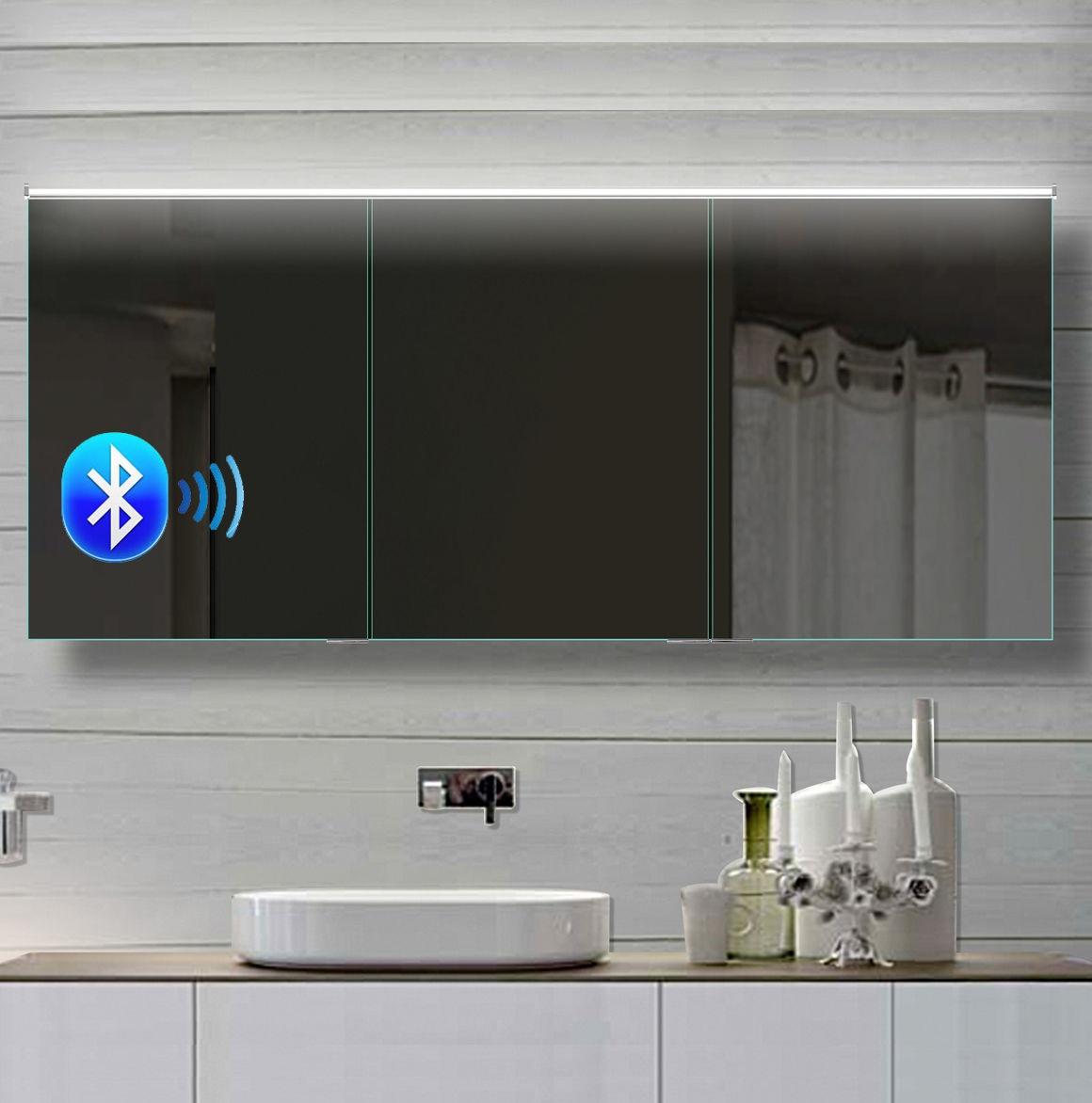 LED Spiegelschrank 17x17 cm, Bluetooth Kaltweiss / Warmweiss Bad