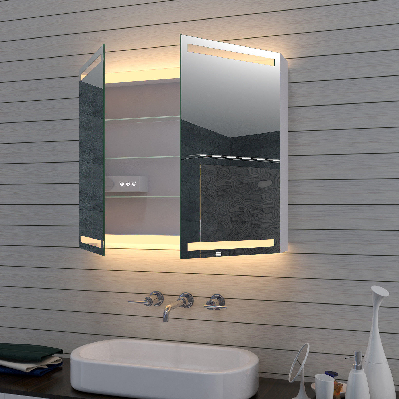 Badezimmerschrank Bad 80x70cm Mit Led Beleuchtung Kalt Warm Badspiegel