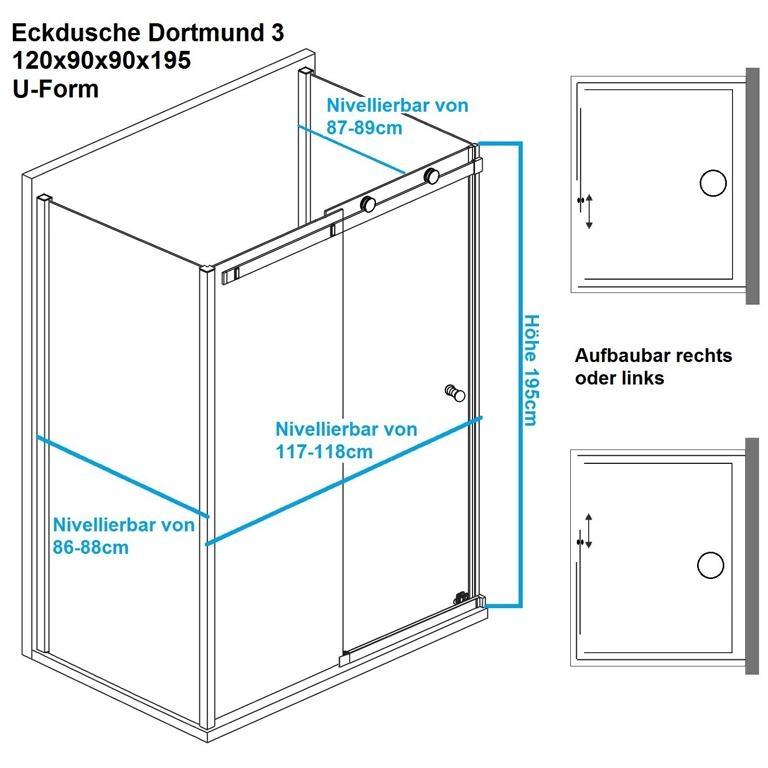 u form duschkabine eckdusche 120x90x90x195cm. Black Bedroom Furniture Sets. Home Design Ideas