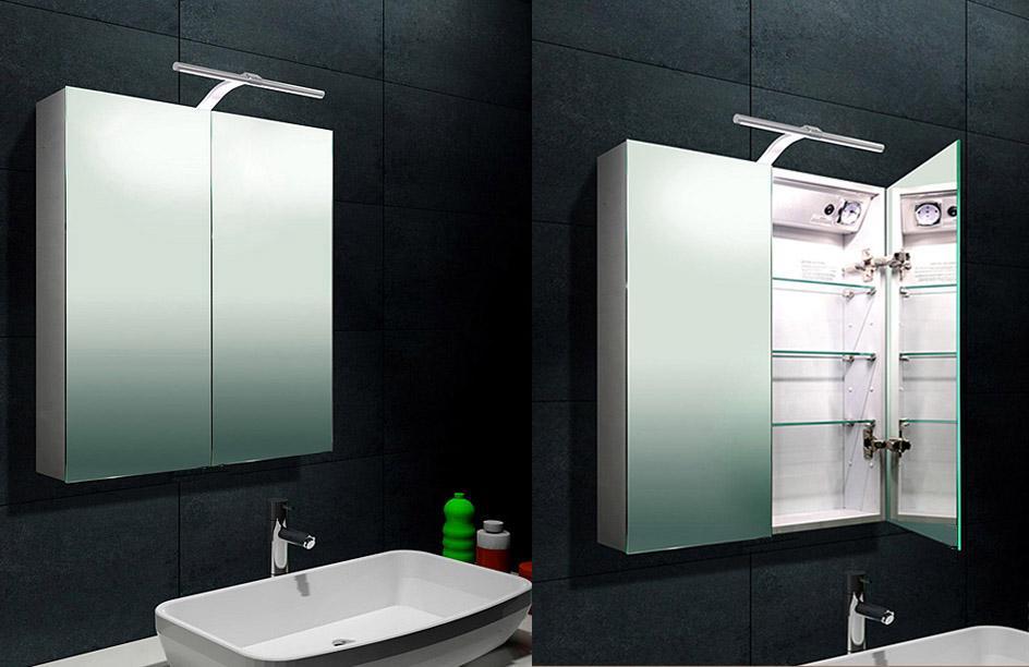 alu spiegelschrank 61x70 cm mit led beleuchtung steckdose und knopfschalter 2 t rig. Black Bedroom Furniture Sets. Home Design Ideas