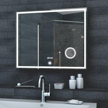 badezimmerspiegel mit led 80x60cm mit uhr schminkspiegel badspiegel. Black Bedroom Furniture Sets. Home Design Ideas