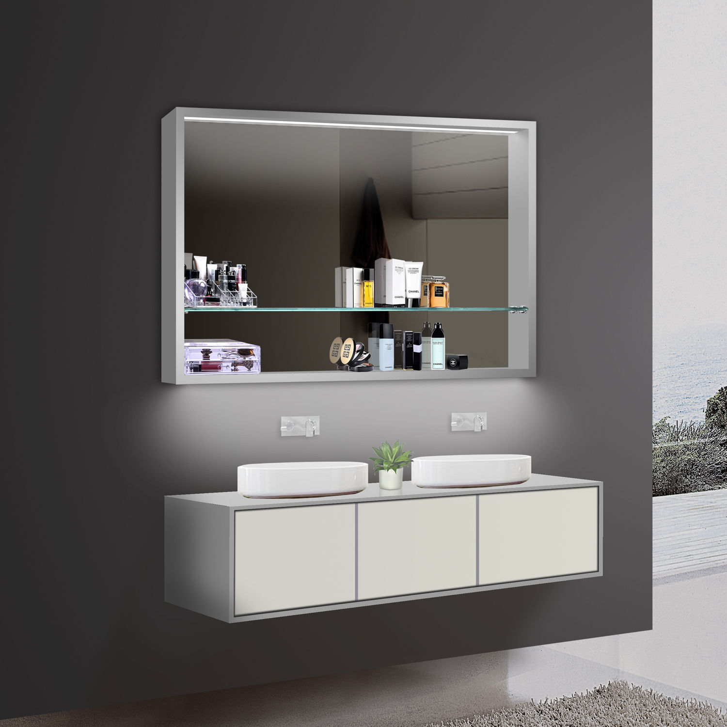 led spiegelschrank 100x75 cm kaltweiss warmweiss. Black Bedroom Furniture Sets. Home Design Ideas