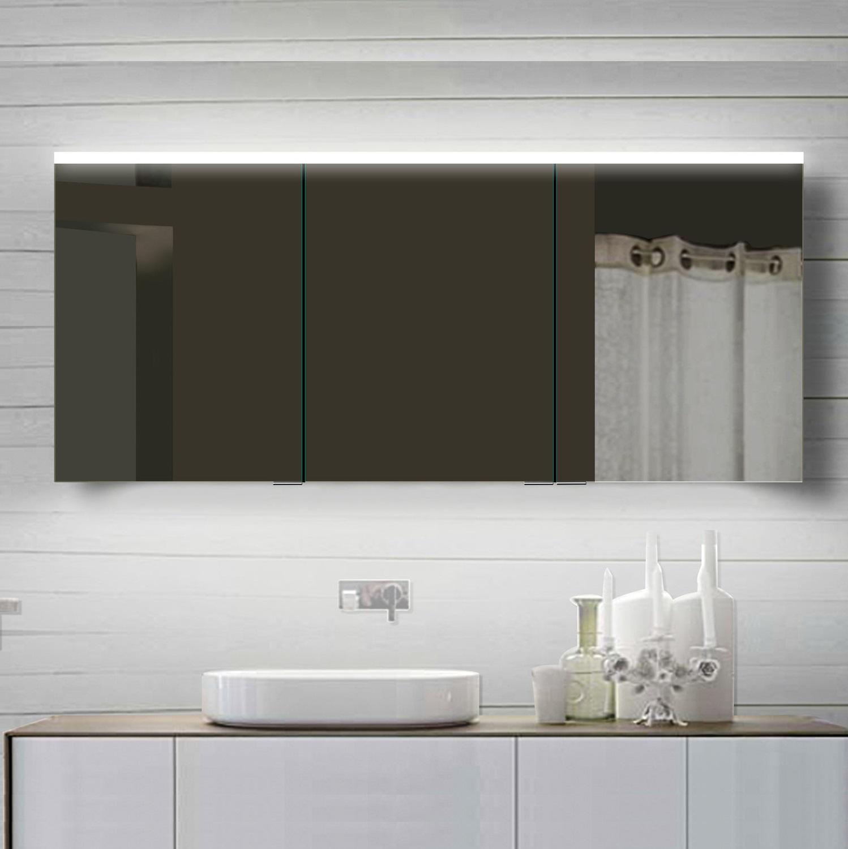 LED Spiegelschrank 160x70 cm, 3-türig Alurahmen Kaltweiss