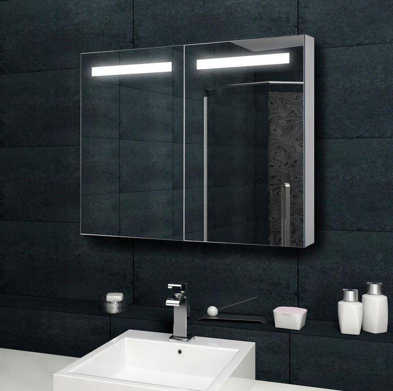 Design spiegelschrank mit verdeckter led 100x70 cm mit for Spiegelschrank mit steckdose