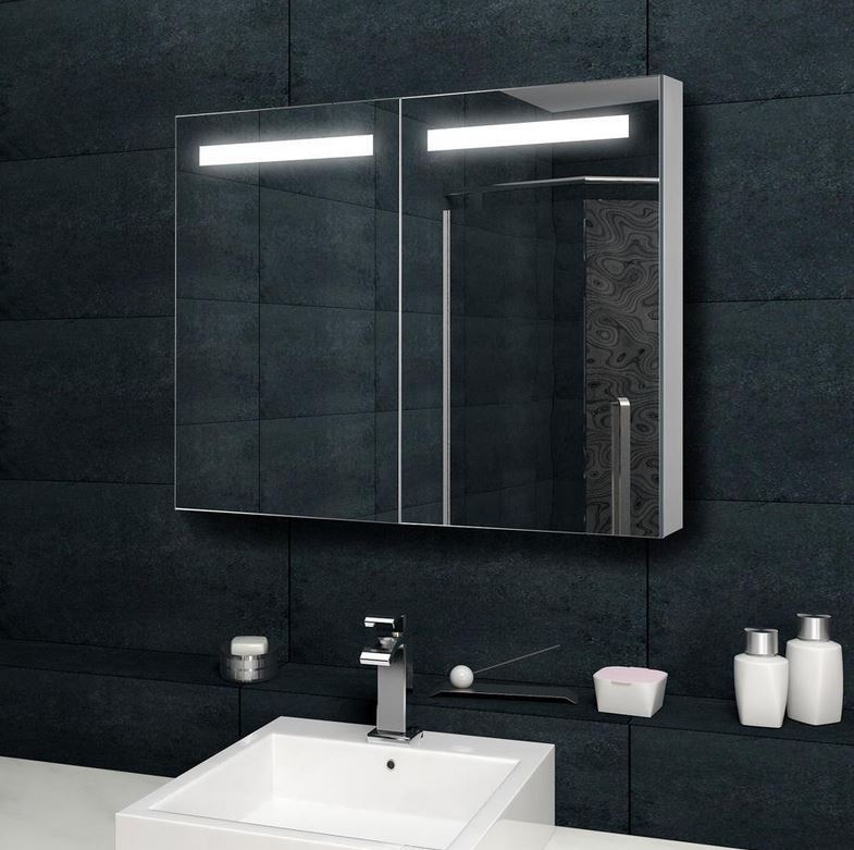 design spiegelschrank mit verdeckter led 100x70 cm mit steckdose bad spiegel. Black Bedroom Furniture Sets. Home Design Ideas