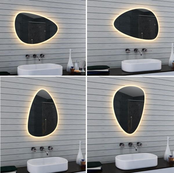 Design Schminkspiegel Badspiegel Mit Led 80x55cm Beleuchtet Rund