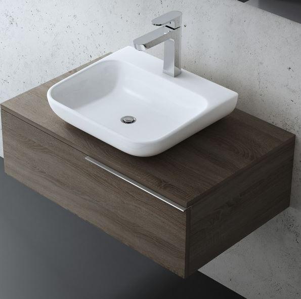 Badezimmermöbel Gäste WC Waschbecken und Unterschrank in Nussbaum Braun