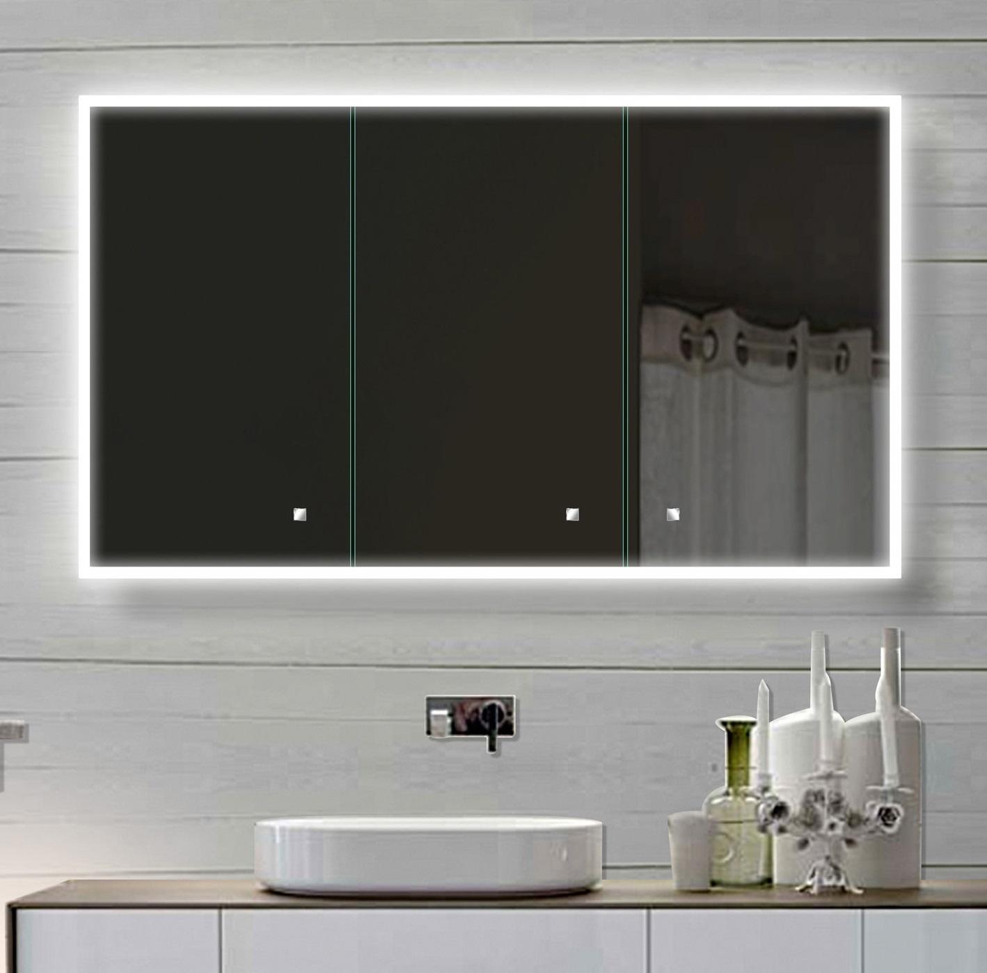 LED Spiegelschrank 120x70 cm, 3-türig Alurahmen