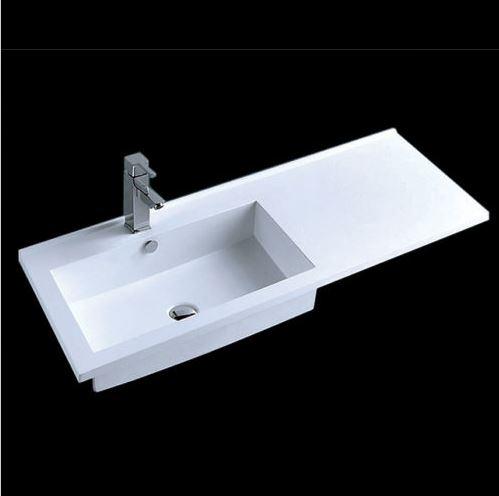 einbau waschbecken marmor rechteck 100x51cm mit ablage. Black Bedroom Furniture Sets. Home Design Ideas