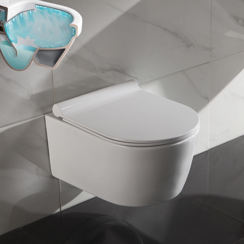 wc toilette sp lrandlos wandmontage mit softclose sitz 50cm. Black Bedroom Furniture Sets. Home Design Ideas