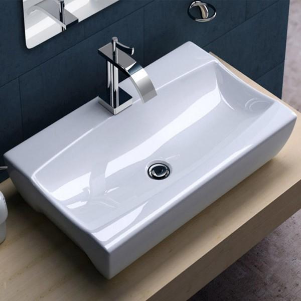 Design Lavabo Aufsatz/Hänge Waschbecken Keramik 49x32cm
