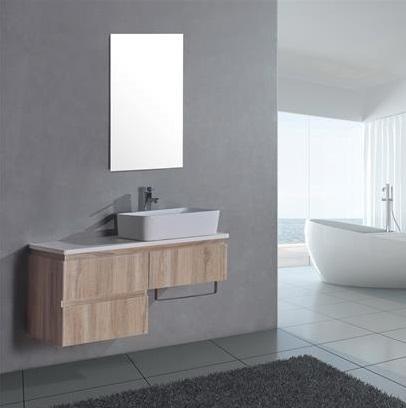 badm bel eiche hellbraun 100x44cm mit waschbecken badspiegel. Black Bedroom Furniture Sets. Home Design Ideas