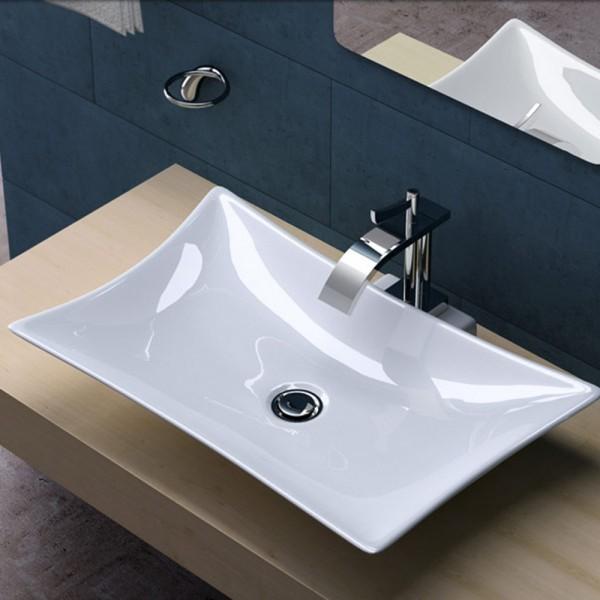 Aufsatz Waschbecken Lavabo Keramik Eckig 57x37cm