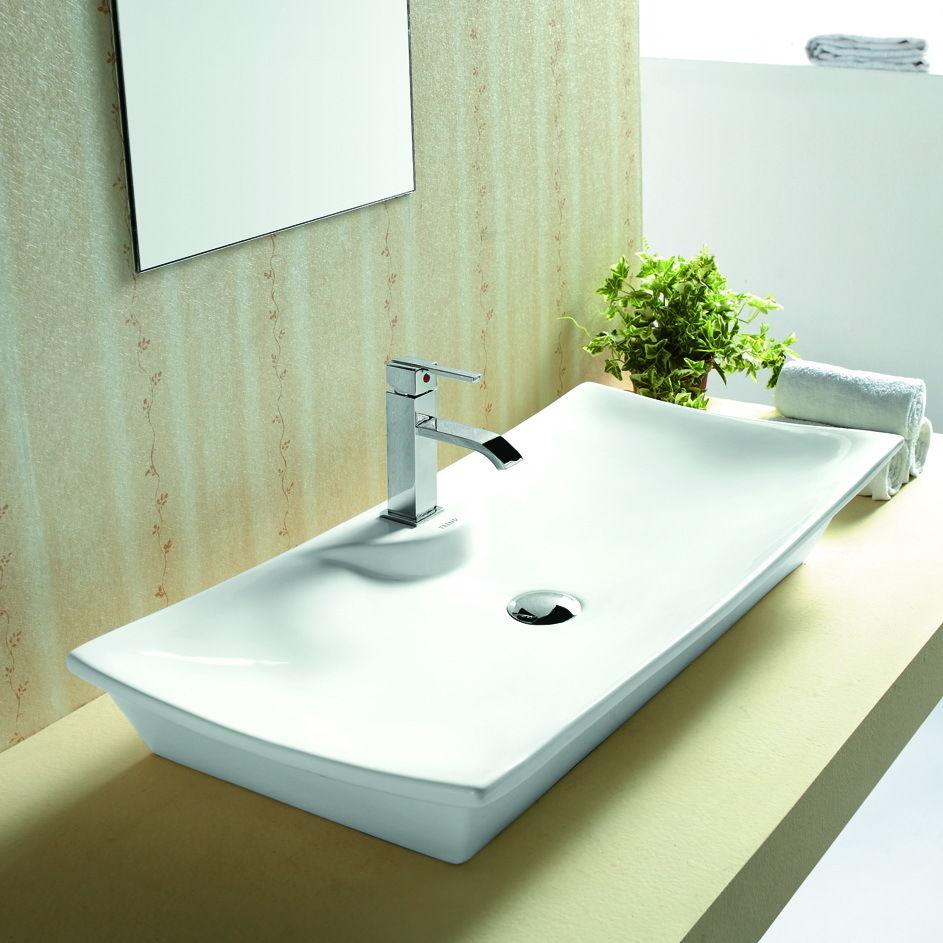 xl waschbecken mit wandmontage oder aufsatz keramik rechteck 80x39cm