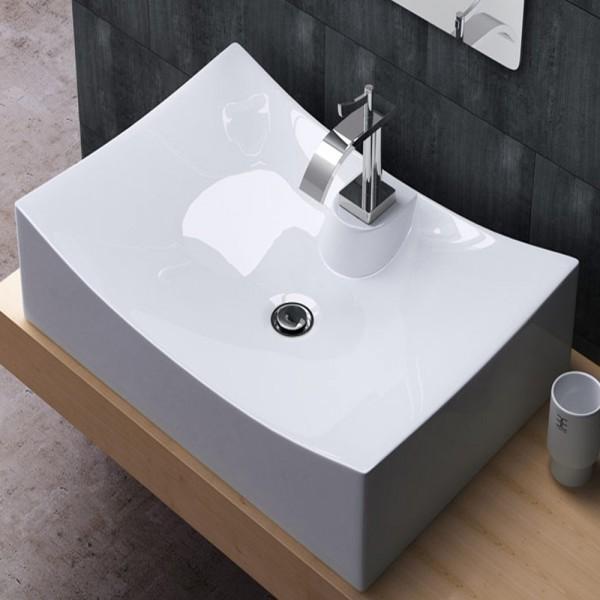aufsatzwaschbecken waschschale keramik eckig 67x47cm. Black Bedroom Furniture Sets. Home Design Ideas